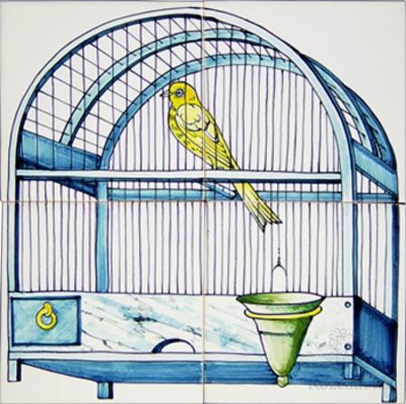 Rf4-8d Vogelkooi met kanarie