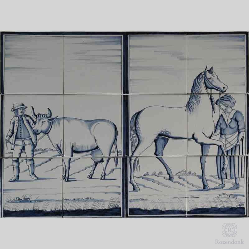 RF6-8/9 Boer met koe en boerin met paard