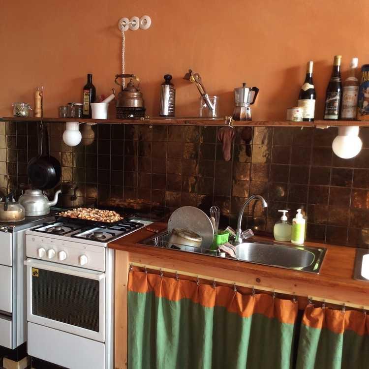 Bronze tegels in de keuken