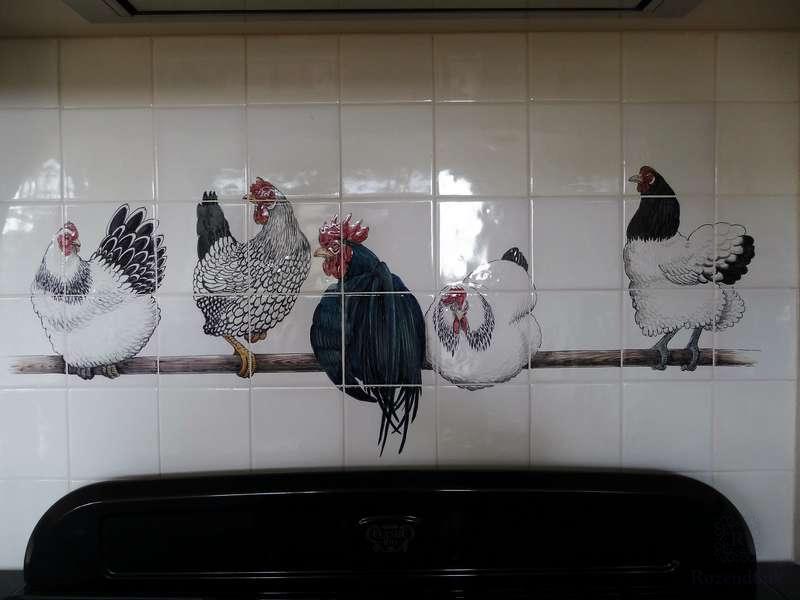 Lakenvelder kippen op stok