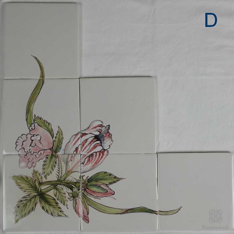 Speciale bloemstukjes in hoekopstelling geschilderd