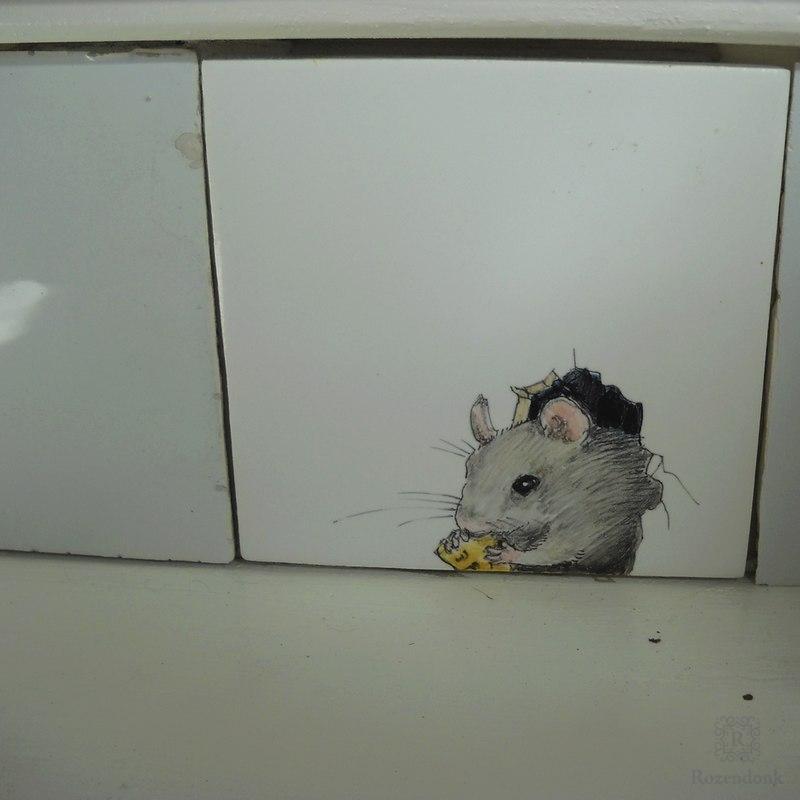 Trap met witjes en muizen