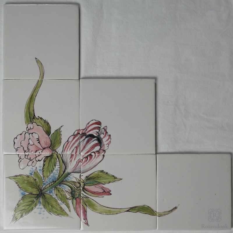 Speciaal bloemstukje in hoekopstelling geschilderd