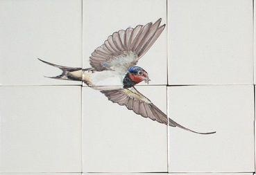 Zwaluw op 6 Friese witjes geschilderd