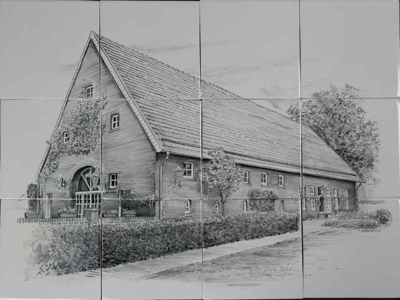 Huis op tegels geschilderd