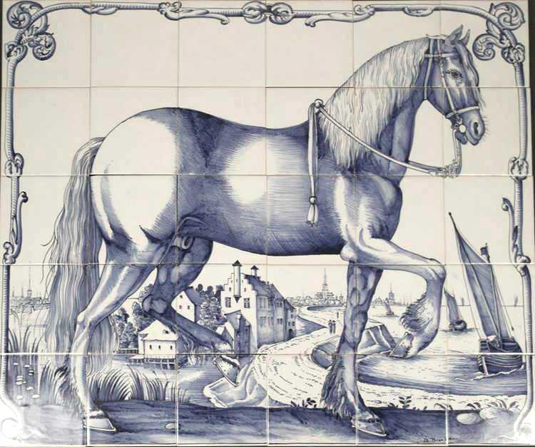 Fries paard op 30 tegels