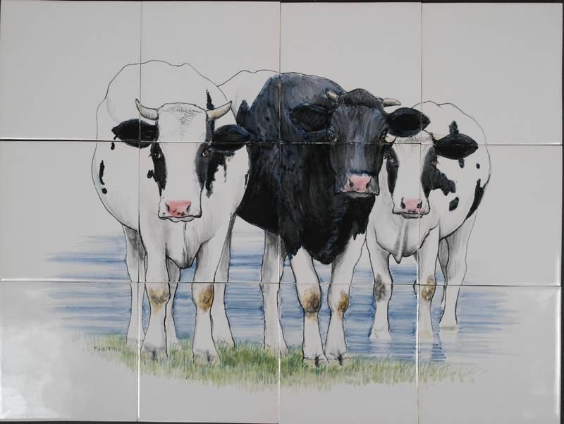 3 Koeien in het water