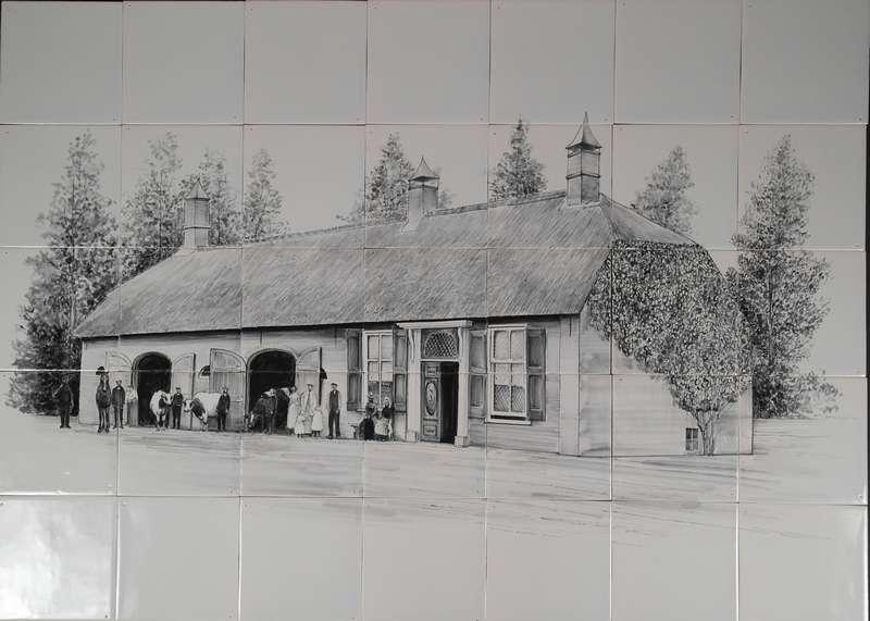Huis op 35 tegels in zwart/wit