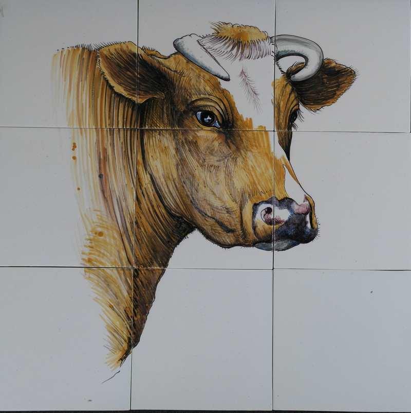Koeienkop op 9 tegels